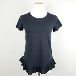 Maison Jules Black Short Sleeve Ruffled-Hem Top